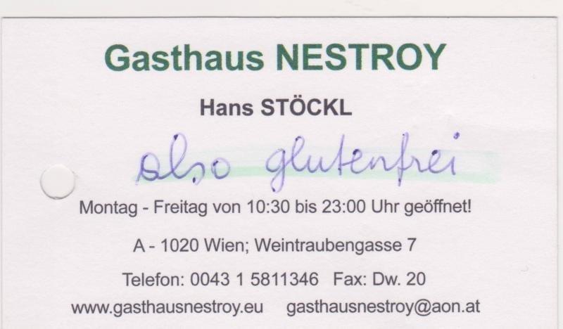 adventures of a gluten free globetrekker Gasthaus Nestroy card