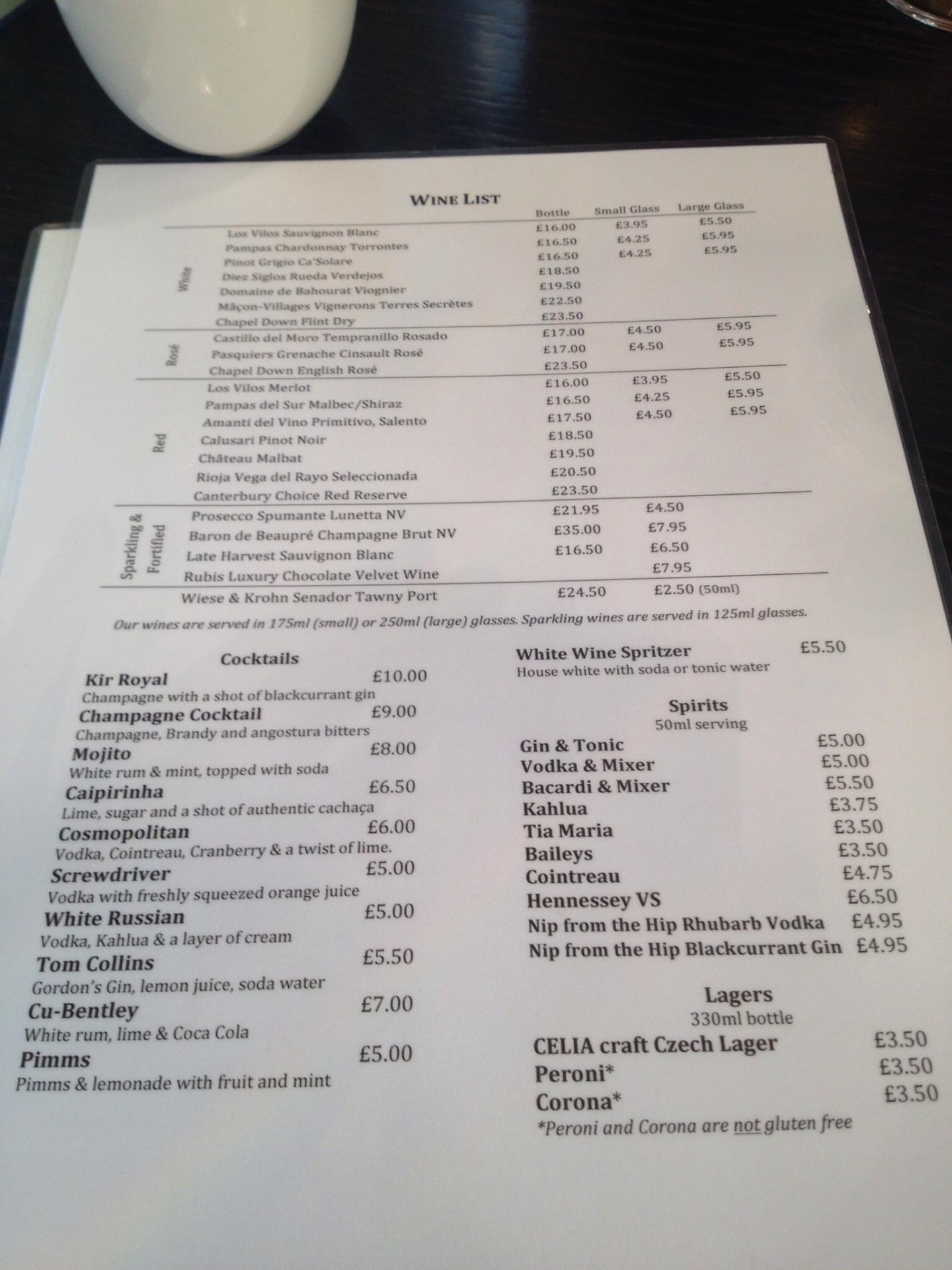 adventures of a gluten free globetrekker Restaurant Review: Oscar & Bentley's, 100% Gluten Free Canterbury, Kent Gluten Free Travel UK Kent  gluten free UK 100% gluten free restaurantss