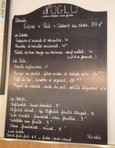 NoGlu gluten free menu
