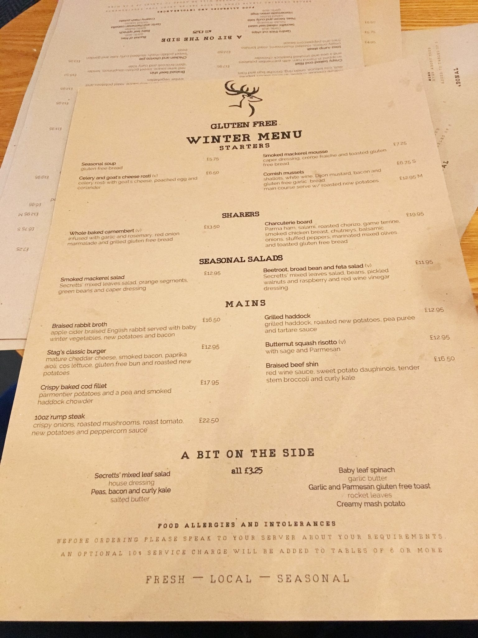 The Stag On The River Menu
